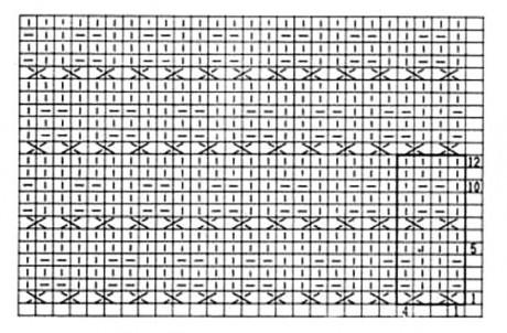 """Схема вязания спицами узора """"Рельефные ячейки"""""""