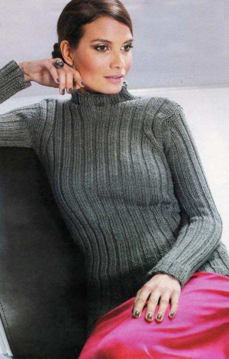 Женский свитер спицами резинкой