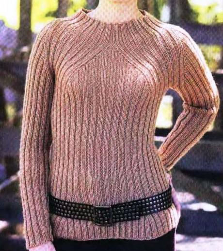 Песочный женский свитер резинкой 2 на 2