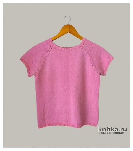 Базовая розовая футболка/топ спицами, видео-урок. Вязание спицами.