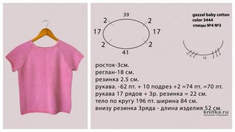 Базовая розовая футболка спицами, видео-урок вязание и схемы вязания