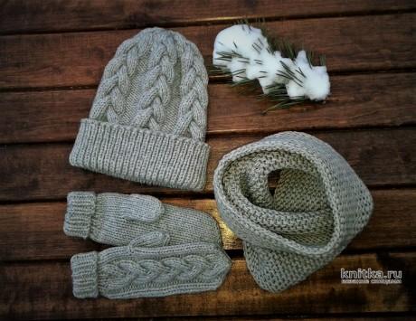 Детский комплект спицами: шапка, снуд и варежки. Работа essa.handmade. Вязание спицами.