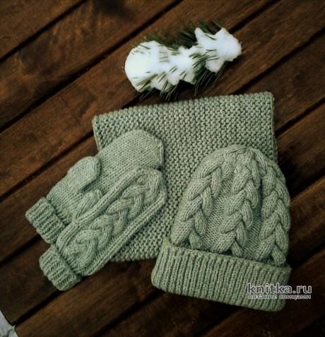 Детский комплект спицами: шапка, снуд и варежки. Работа essa.handmade вязание и схемы вязания
