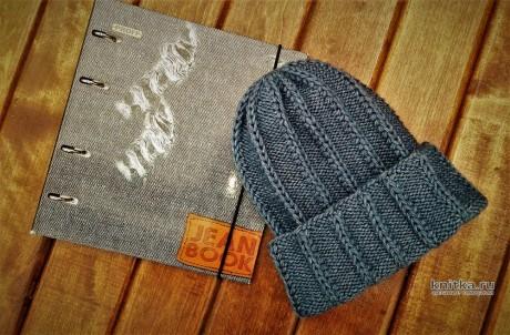 МУЖСКАЯ ШАПКА на круговых спицах. Работа essa.handmade. Вязание спицами.
