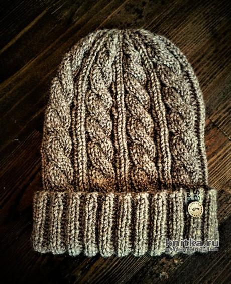 Мужская шапка спицами за 2 часа. Работа essa.handmade. Вязание спицами.