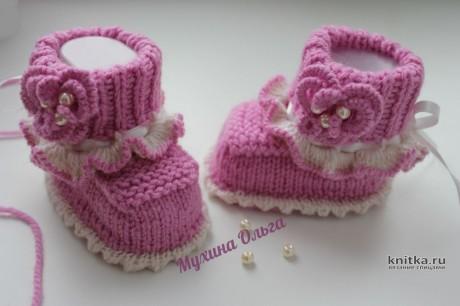 Пинетки спицами для девочки на 3 месяца. Работа Мухиной Ольги вязание и схемы вязания