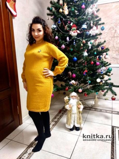 Платье спицами для беременных Мандаринка. Работа Анаит. Вязание спицами.