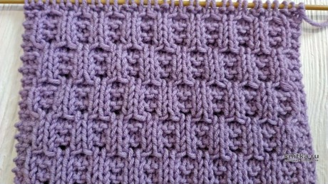 Узор спицами Рельефные ячейки. Описание, схема и видео-урок вязание и схемы вязания