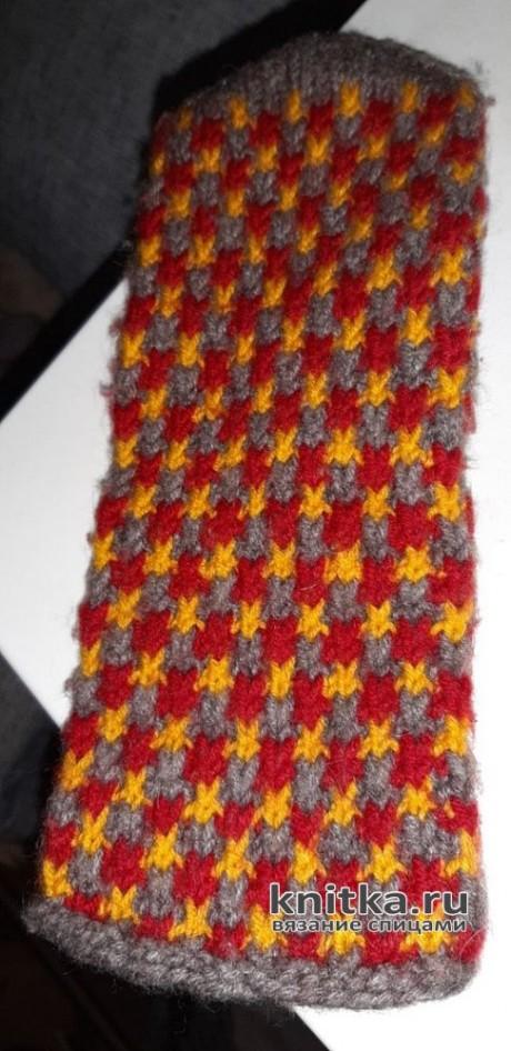Варежки с трехцветным узором. Работа Галины вязание и схемы вязания