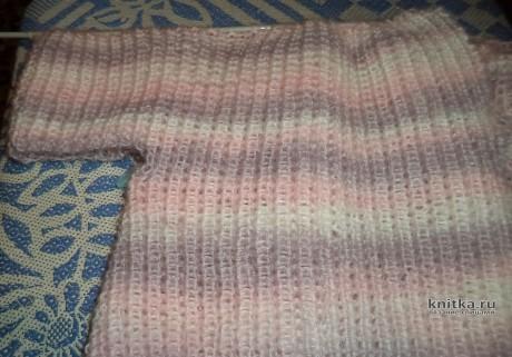 Жакет спицами полупатентной резинкой на молнии. Работа Анны вязание и схемы вязания