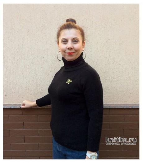 Женская черная водолазка спицами, видео-урок вязание и схемы вязания