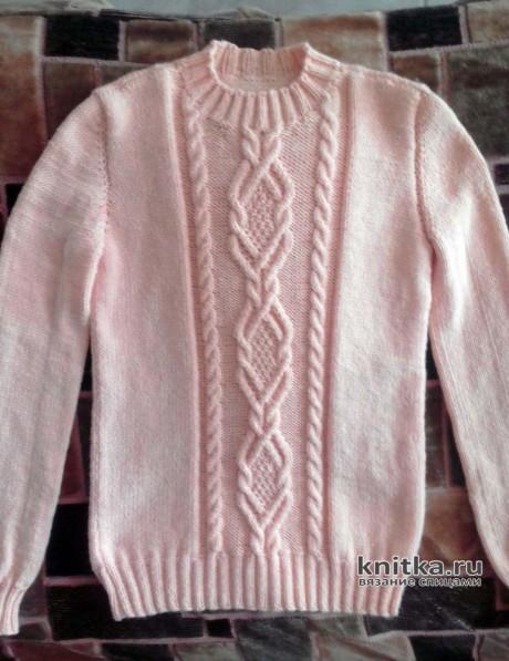Женский свитер спицами. Работа Жанны. Вязание спицами.