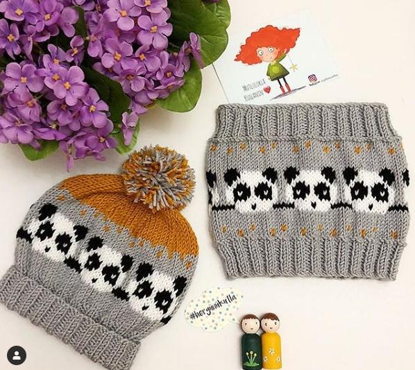 узор панда спицами для шапок и варежек вязание для детей