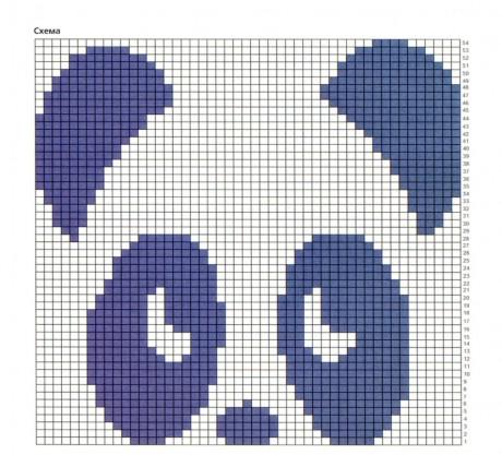 Схемы вязания узоров Панда спицами