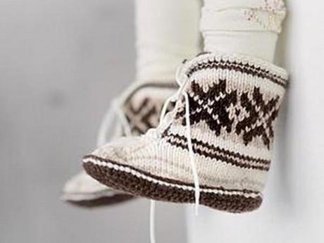 Скандинавские вязаные носки на 5 спицах для новорожденных и малышей