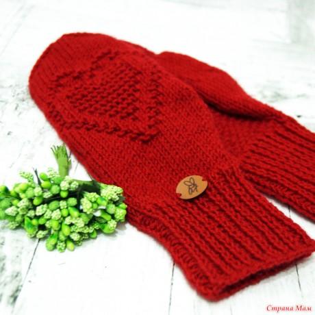 Вязанные спицами варежки Сердце, видео-урок и схемы вязания. Вязание спицами.