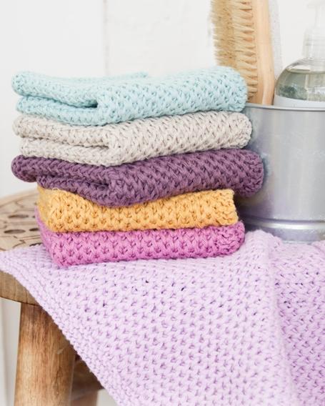 Примеры вязаных полотенец от Drop Design