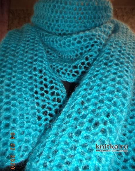 Как связать ТЕПЛЫЙ и ажурный шарф спицами. Работа Анны. Вязание спицами.