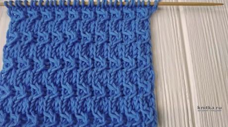 Оригинальные рельефный узор спицами ПОЛУМЕСЯЦ, описание и видео-урок вязание и схемы вязания