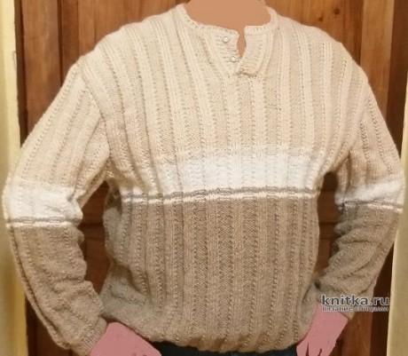 Пуловер мужской спицами c полосатым рельефным узором. Вязание спицами.