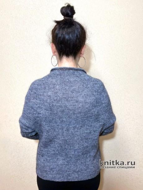 Женский джемпер с удлиненной линией реглана, видео-урок вязание и схемы вязания