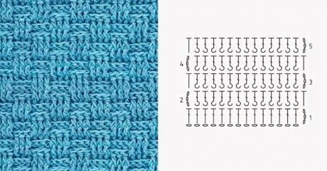 схема вафельного узора для полотенца