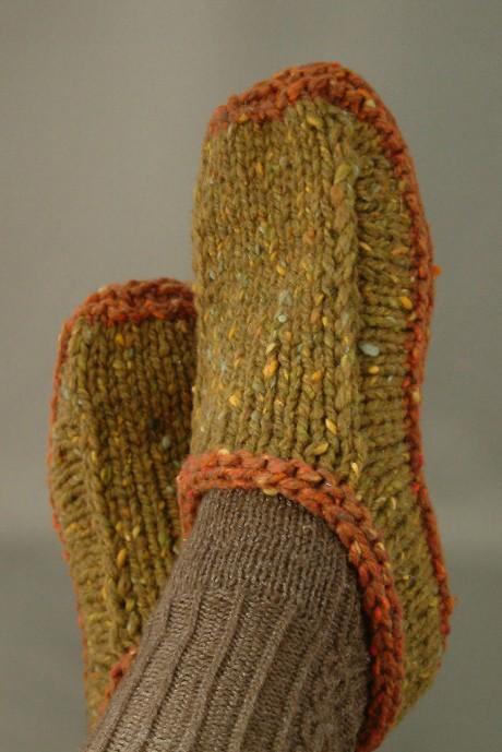 Тапочки спицами Non-felted Slippers