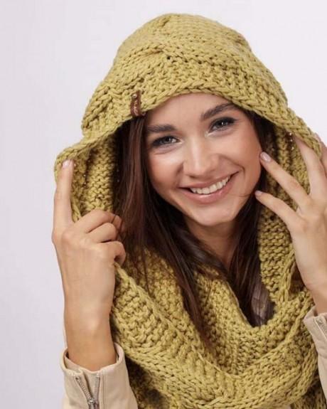 Как связать шарф - капюшон спицами, бесплатное описание