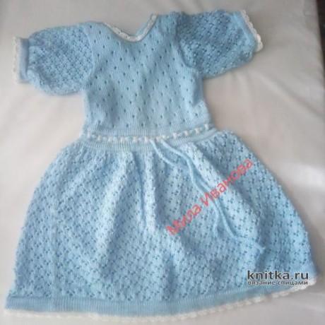 Платье и панама для девочки спицами. Работа Ивановой Людмилы. Вязание спицами.