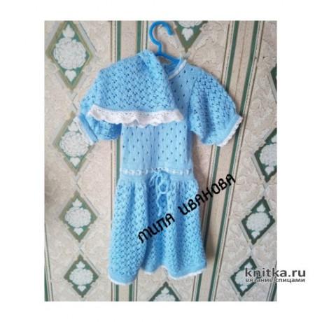 Платье и панама для девочки спицами. Работа Ивановой Людмилы вязание и схемы вязания
