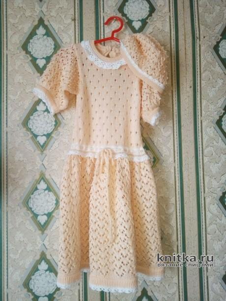 Платье спицами для девочки 3-4 лет. Работа Ивановой Людмилы вязание и схемы вязания