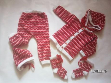 Вязанный спицами костюм для девочки. Работа Ивановой Людмилы. Вязание спицами.