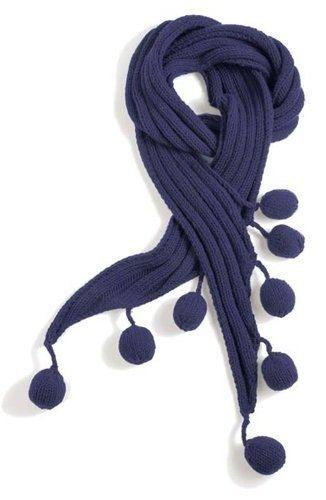 Описание шарфа Интересный шарфик с помпонами спицами