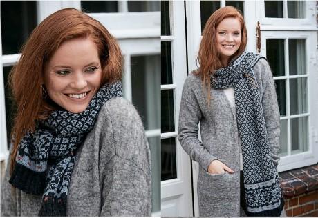 Фантастический двухсторонний шарф спицами с жакардовым узором