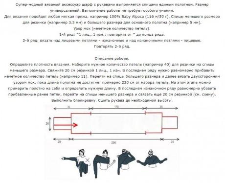 Накидка - трансформер с рукавами Шарф - трансформер с рукавами связан спицами