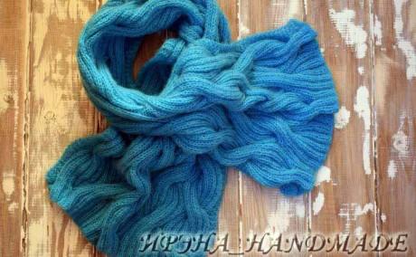 Мохеровый шарф спицами