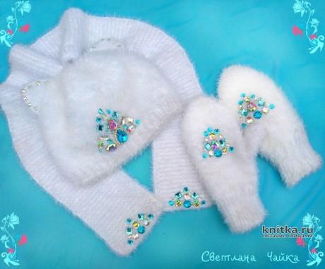 Комплект для девочки Белая кошечка. Работа Светланы Чайка вязание и схемы вязания