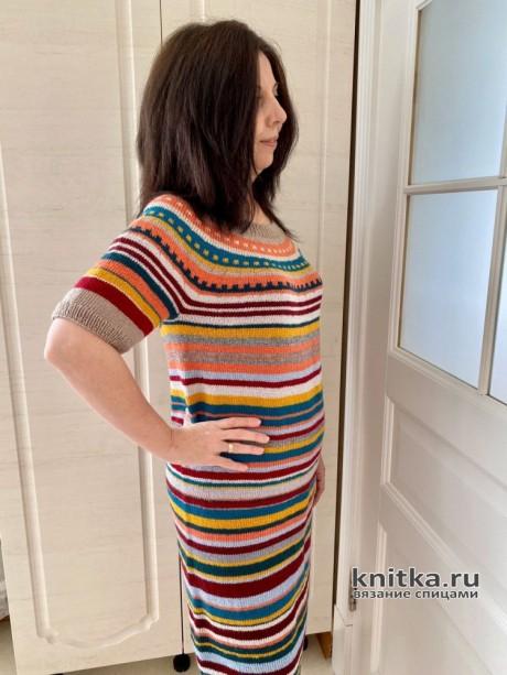 Платье женское из остатков пряжи. Работа Анаит вязание и схемы вязания