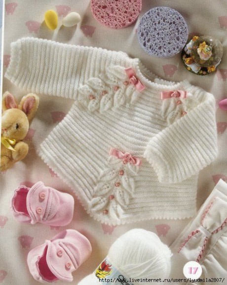 Кофточка с листиками по линии реглана для новорожденного малыша