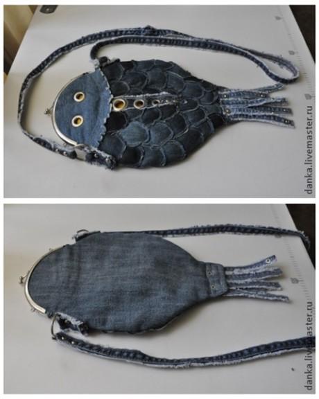 Необычная сумка - рыбка из джинсов