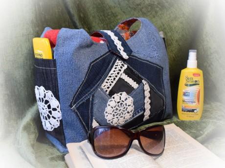 Как сшить классную пляжную сумку из джинсов