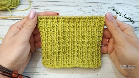 Вафельный узор спицами, схема и видео-урок вязание и схемы вязания