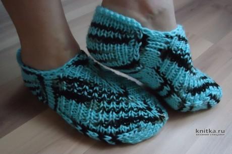 Вязанные спицами тапочки - следки. Работа Валерии вязание и схемы вязания