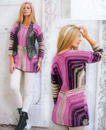Джемпер для женщин, вязание пэчворк