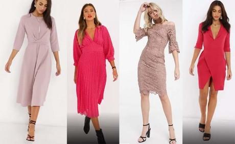 Розовое платье с черными туфлями - самое распространенное сочетание