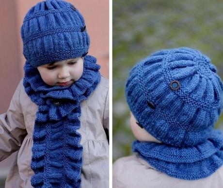 Шапочка для девочки спицами и шарф
