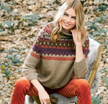 Стильный свитер спицами с жаккардовой кокеткой