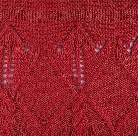 Ажурный узор для вязания спицами с цветами и косами