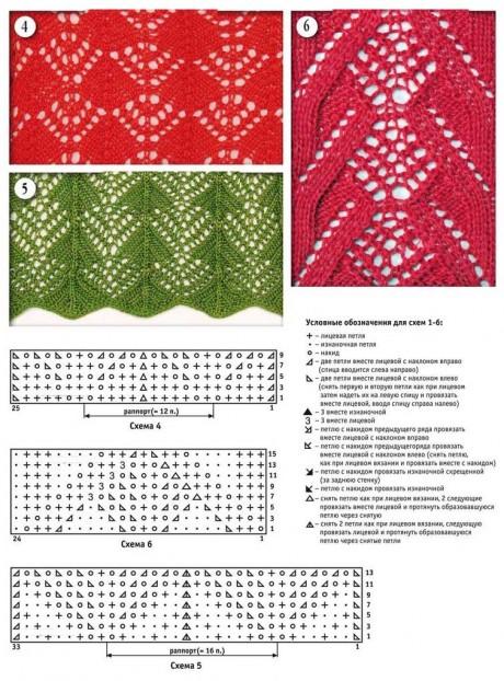 Схемы вязания ажурных узоров из интернет