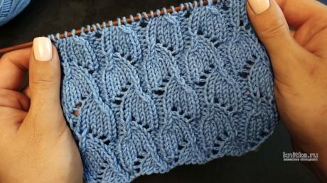 Интересный ажурный узор спицами, описание и видео-урок вязание и схемы вязания